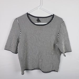 Theory Cropped Top Size L Striped Scoop Neck  #122